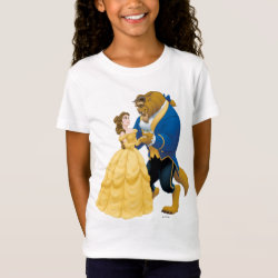 Girls' Fine Jersey T-Shirt with Beauty and the Beast dancing design