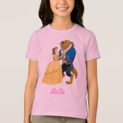Girls' American Apparel Fine Jersey T-Shirt with Beauty and the Beast dancing design