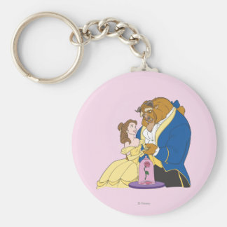Belle and Beast Holding Hands Basic Round Button Keychain
