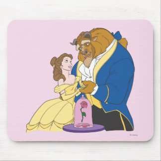Belle and Beast Holding Hands Mouse Pad