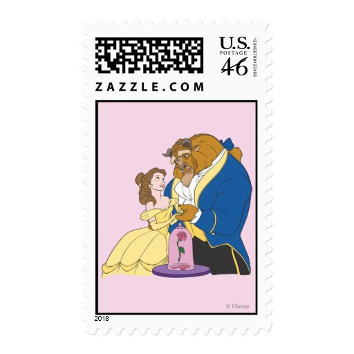 Belle and Beast Holding Hands Postage