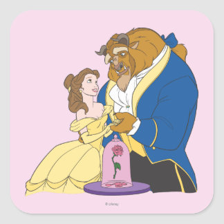 Belle and Beast Holding Hands Square Sticker