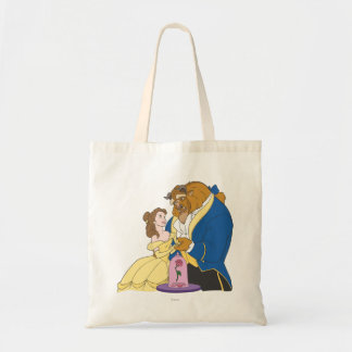 Belle and Beast Holding Hands Tote Bag