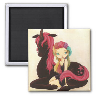 Belle and Night - fantasy rainbow goth unicorn 2 Inch Square Magnet