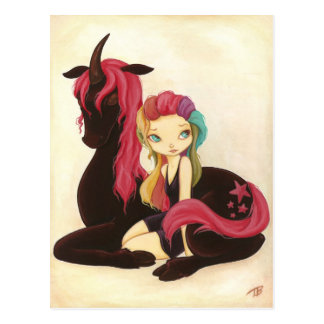 Belle and Night - fantasy rainbow goth unicorn Postcard