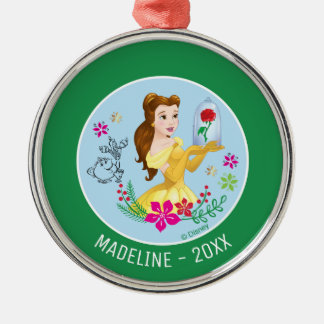 Belle   Belle Holding Glass Rose Add Your Name Metal Ornament