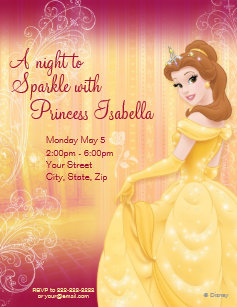 Disney princess invitations zazzle belle birthday invitation filmwisefo