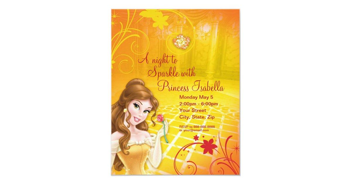 Disney princess invitations announcements zazzle belle birthday invitation stopboris Images