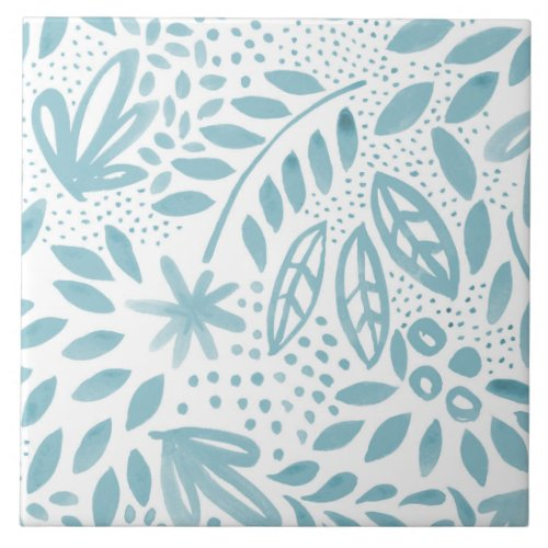 Belle Blue Floral Ceramic Tile