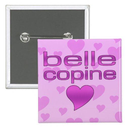 Belle Copine Pink & Purple Love Hearts 2 Inch Square Button