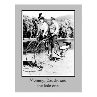Belle époque bicycle history, 2 adults and baby postcard