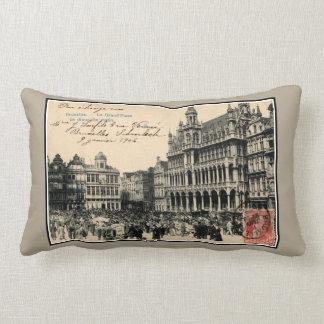 Belle epoque Bruxelles Grand' Place birds' market Lumbar Pillow