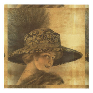 Belle époque, gold and black, victorian lady, dama panel wall art
