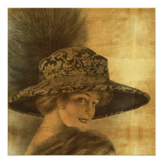 Belle époque, gold and black, victorian lady, dama poster