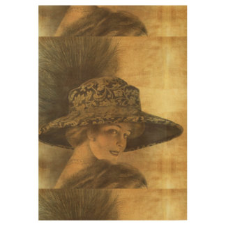 Belle époque, gold and black, victorian lady, dama wood poster