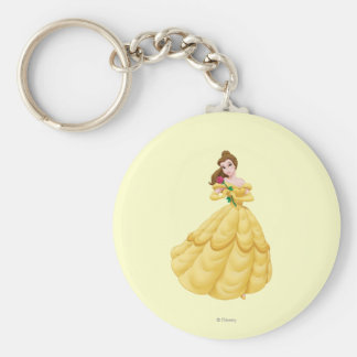 Belle Holding Rose Basic Round Button Keychain