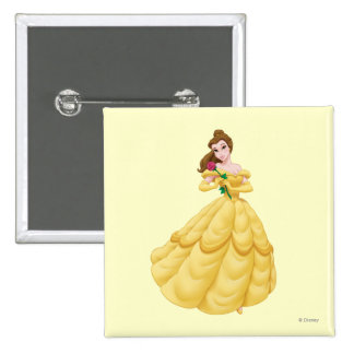 Belle Holding Rose Pinback Button
