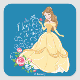 Belle | I Love A Good Story Square Sticker
