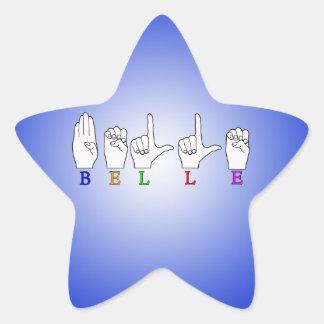 BELLE NAME ASL FINGERSPELLED STAR STICKER