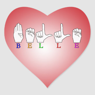 BELLE NAME ASL FINGERSPELLED HEART STICKERS