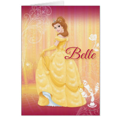 Greeting Card with Belle in golden ball gown design