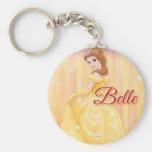 Belle Princess Basic Round Button Keychain