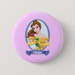 Round Button with Princess Belle of Beauty and the Beast design