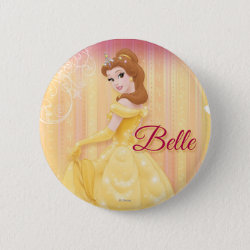 Round Button with Belle in golden ball gown design