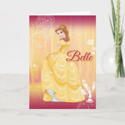 with Belle in golden ball gown design
