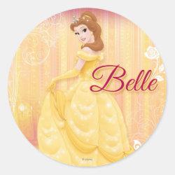 Round Sticker with Belle in golden ball gown design
