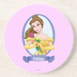 Sandstone Drink Coaster with Princess Belle of Beauty and the Beast design