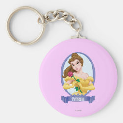 Basic Button Keychain with Princess Belle of Beauty and the Beast design