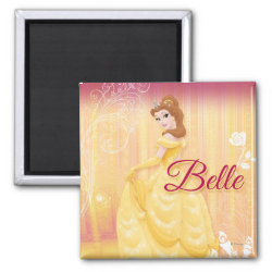 Belle in golden ball gown Square Magnet