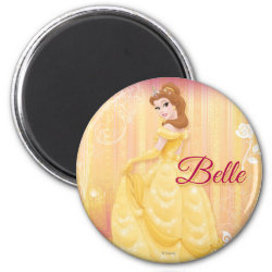 Belle in golden ball gown Round Magnet