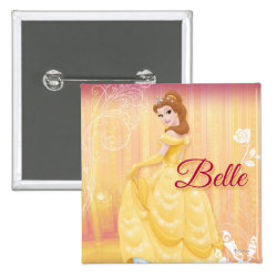 Square Button with Belle in golden ball gown design