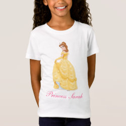 Girls' Fine Jersey T-Shirt with Belle in golden ball gown design