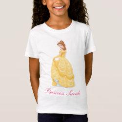 Girls' Fine Jersey T-Shirt with Belle in golden ball gown design