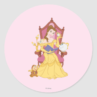 Belle Reading to Friends Classic Round Sticker