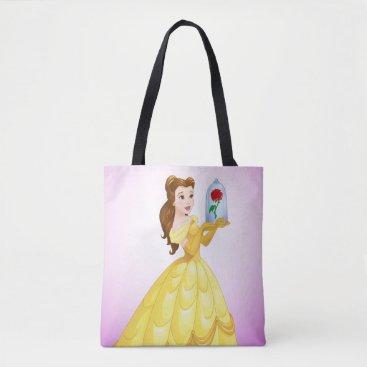 Disney Themed Belle   Rose In Glass Tote Bag