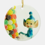 Belle the Pixie Elf Double-Sided Ceramic Round Christmas Ornament