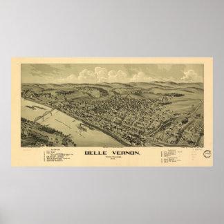 Belle Vernon Pennsylvania 1902 Antique Panorama Poster