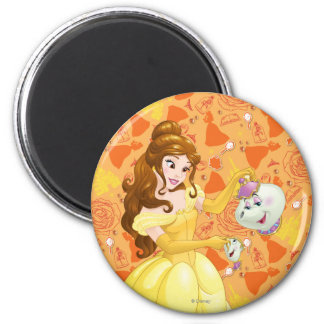 Belle with Mrs. Potts and Chip 2 Inch Round Magnet