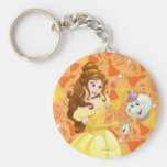 Belle with Mrs. Potts and Chip Basic Round Button Keychain