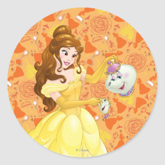 Belle with Mrs. Potts and Chip Classic Round Sticker