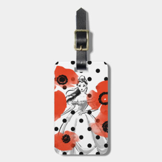 Belle With Poppies and Polka Dots Luggage Tag