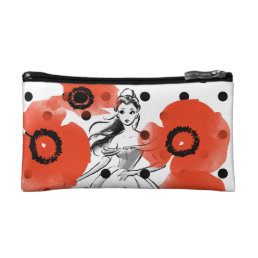 Belle With Poppies and Polka Dots Makeup Bag