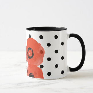 Belle With Poppies and Polka Dots Mug
