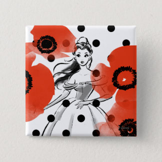 Belle With Poppies and Polka Dots Pinback Button