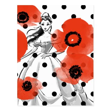 Disney Themed Belle With Poppies and Polka Dots Postcard