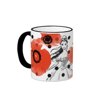 Belle With Poppies and Polka Dots Ringer Mug